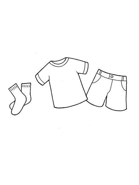 A Black And White Illustration Of Some Children S Clothing