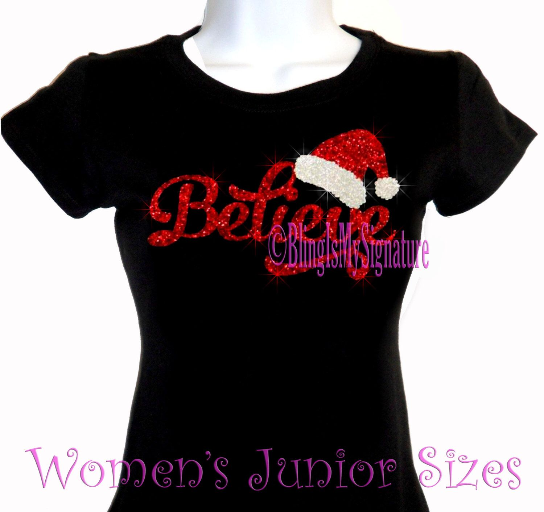 a5cc1f97fb5 Believe - Santa Claus - Glitter Vinyl - Iron on Christmas Rhinestone T-Shirt  -