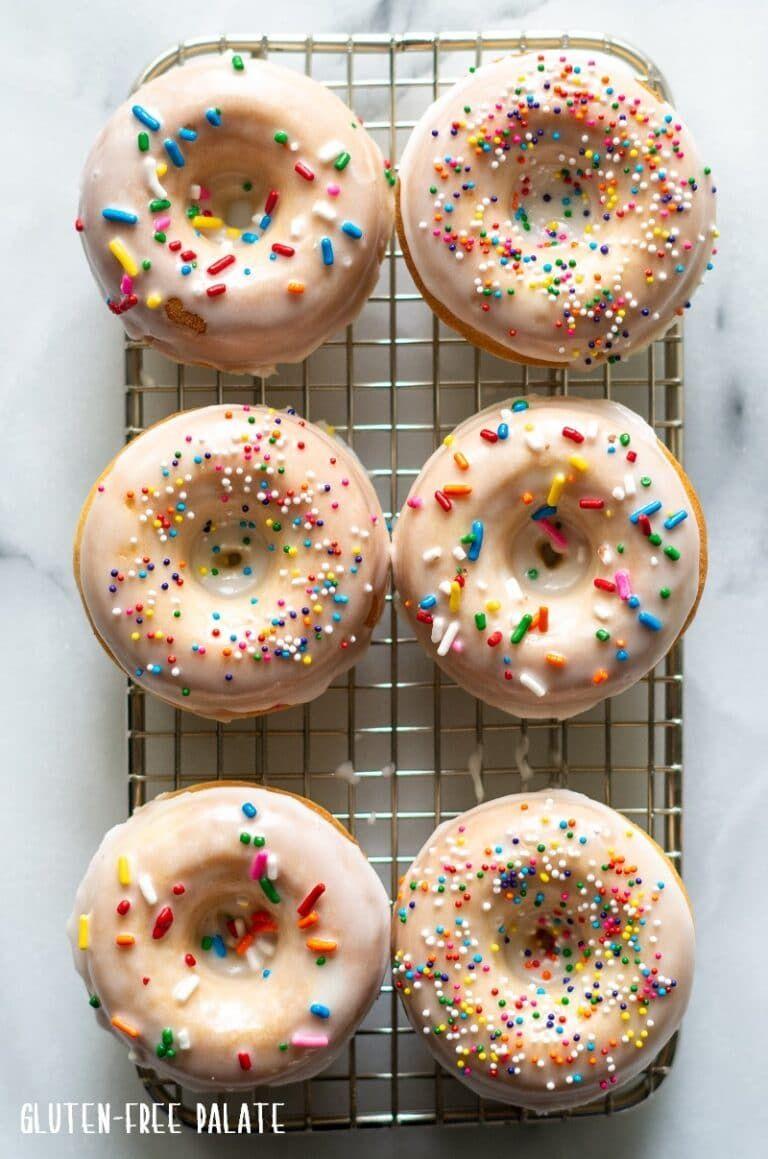 Fun and festive glutenfree vanilla donuts that are soft