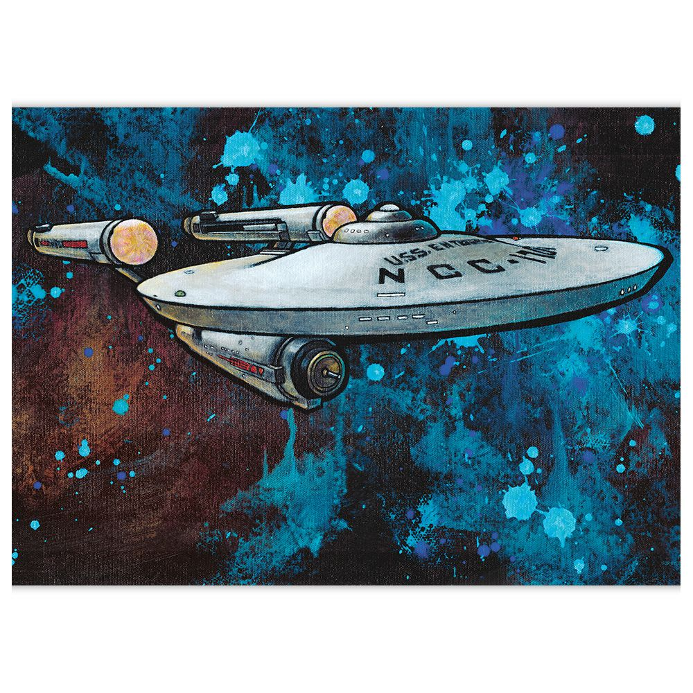 "At 3 feet wide, this print is one of the largest paper prints that we offer. This print, of the classic Enterprise, is awash in color and expression. The image is achieved through an innovative technique of, what some may call, reverse painting. Charity begins her paintings on a black canvas, and paints everywhere except the ""black lines."""