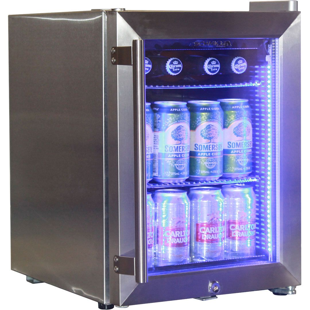 Stainless Steel Mini Bar Fridge With Led Strip Light And Lock Delivery Available To Melbourne Perth Sydney Brisbane Adelai Bar Fridges Door Bar Glass Door