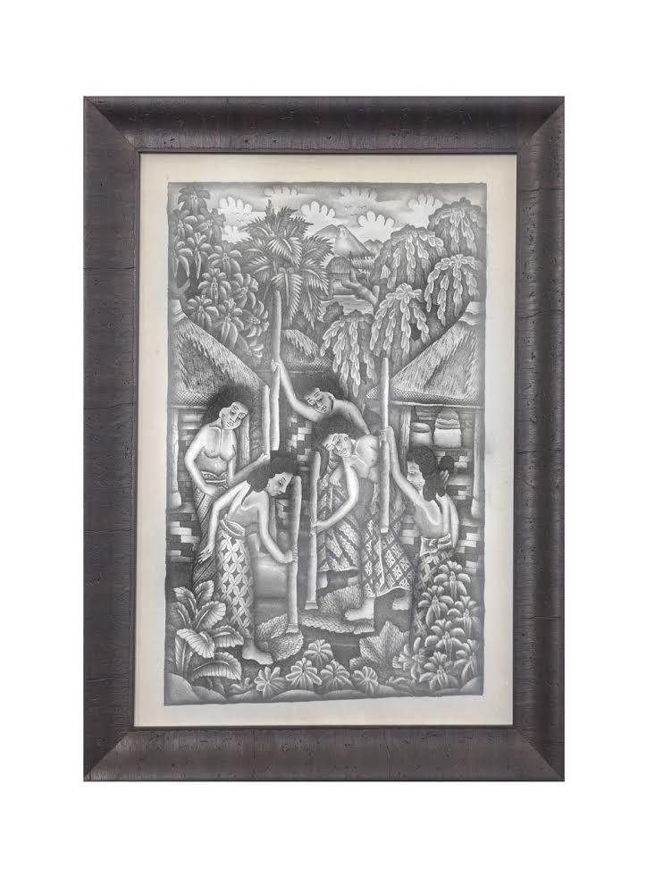 Pair of Original 1930's Ink Wash Drawings attributed to Dewa Kompiang Kandel Roeka