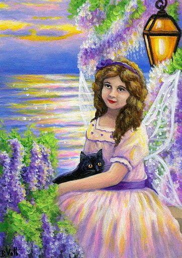 Victorian Fairy Black Kitten Cat Garden Sea Fantasy Original Aceo Painting Art Miniature