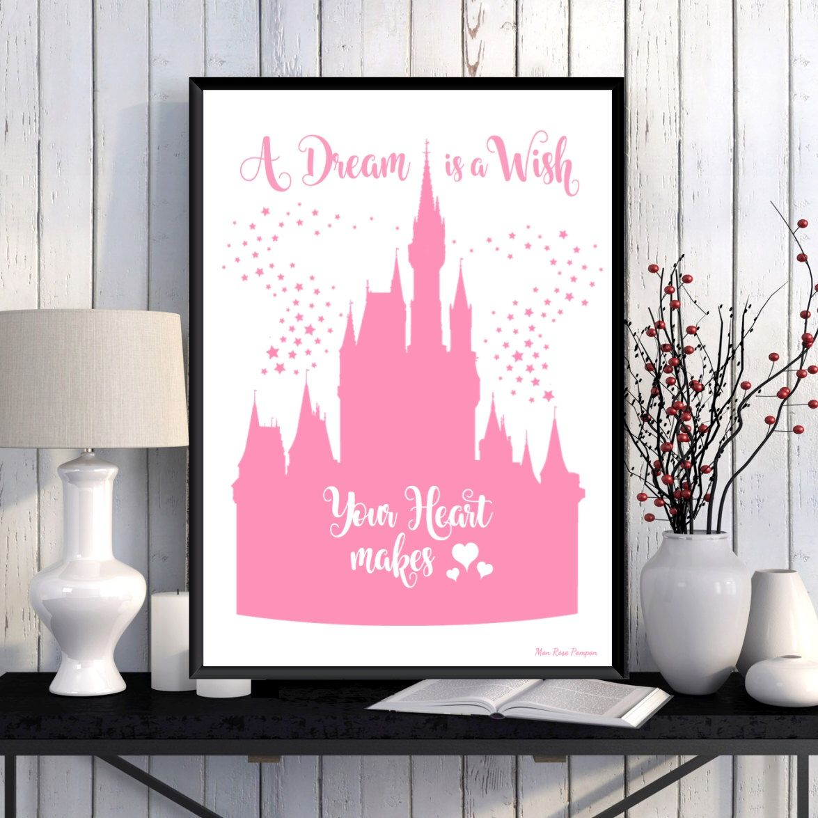 Disney Castle Poster Princess Disney Print Disney Quote Girl