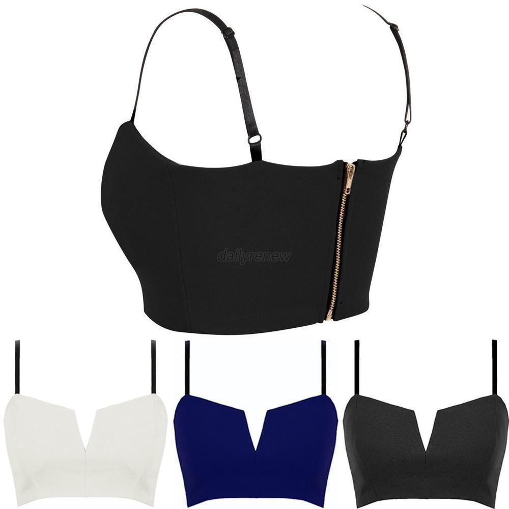 52152cad852ab Womens Plunge Bustier Bra Deep V Bodycon Clubwear Party Cropped Top Bralette  D82  ZEHUI  TankCami  Clubwear