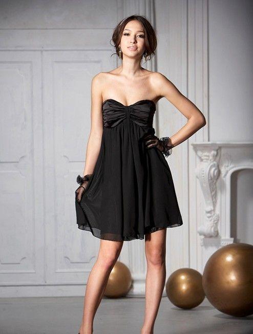 Kleid schwarz mit herzaubchnitt
