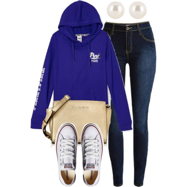 #230 Blue Sweater Outfit by kgarcia8427 on Polyvore featuring polyvore moda style Converse Michael Kors Henri Bendel fashion clothing