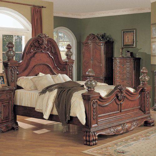 Bed has marble inlaid headboard and footboard and bun feet