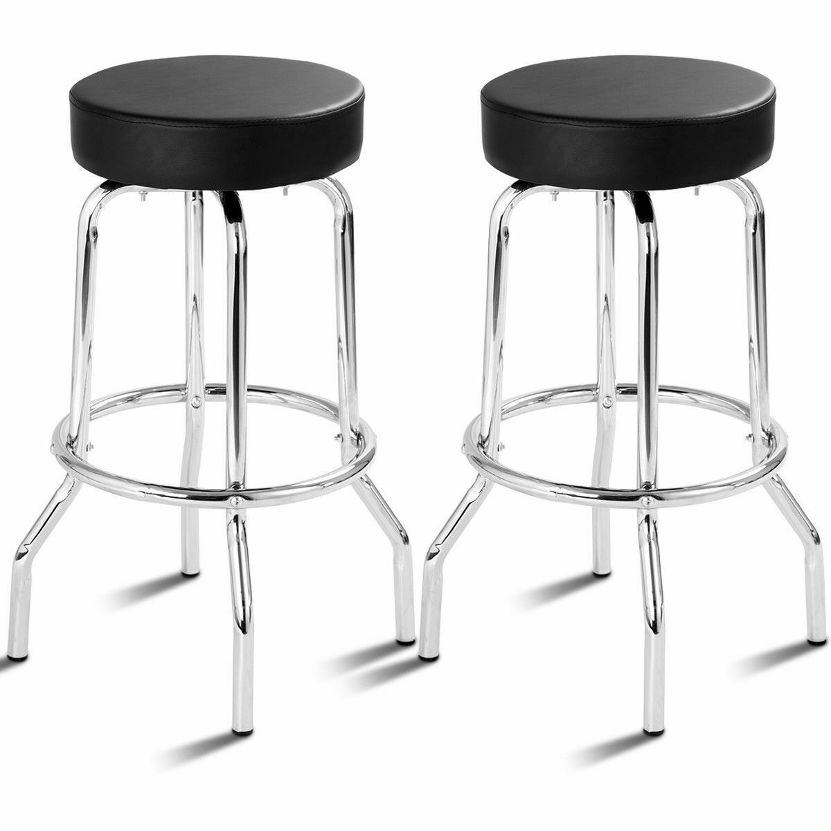 Set Of 2 Bar Stools Pu Leather Round Seat Backless Swivel Pub