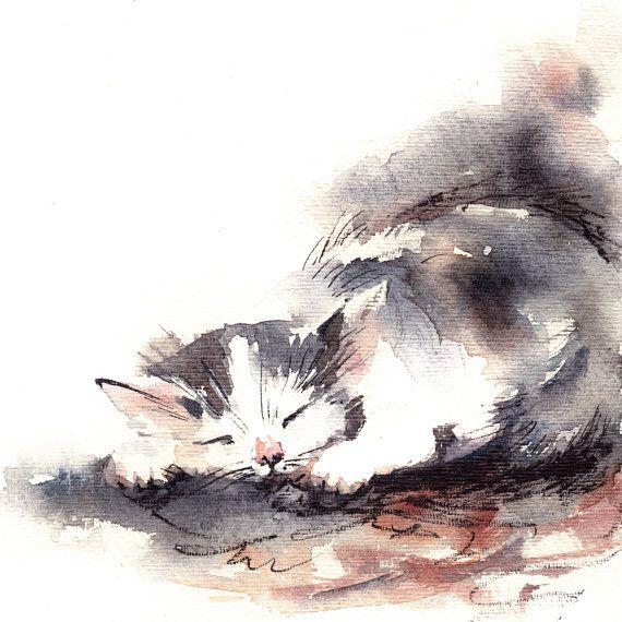 Art Print De Dormir Chaton Peinture A L Aquarelle De L Art De L