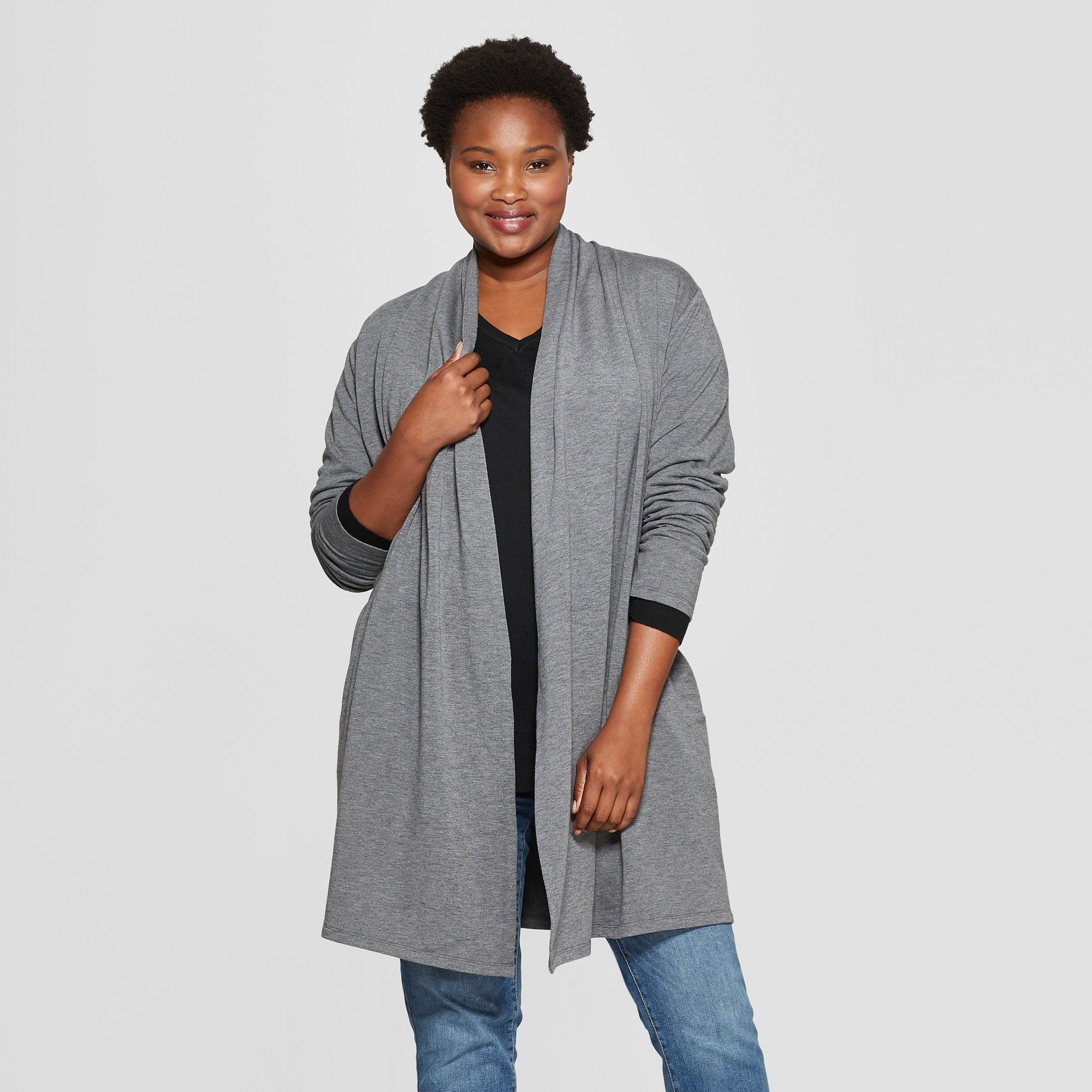 sneakers pretty and colorful a few days away Women's Plus Size Long Sleeve Open Layering Cardigan - Ava ...