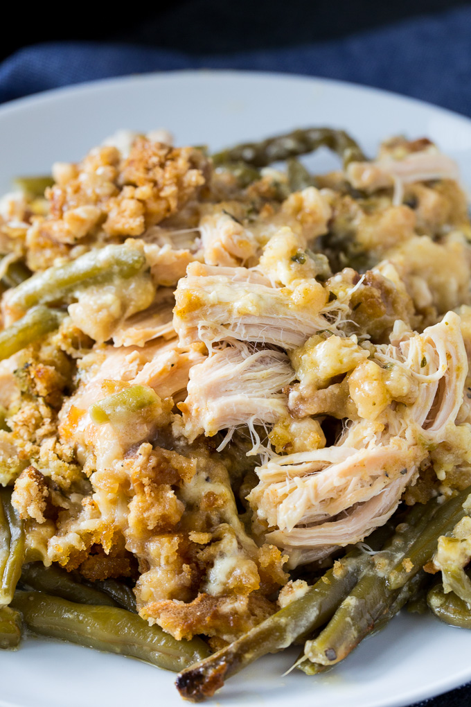 Crock Pot Chicken and Stuffing with Green Beans - Spicy Southern Kitchen