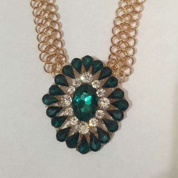 Emerald green & gold statement necklace Emerald green & gold crystal statement necklace. New Jewelry Necklaces