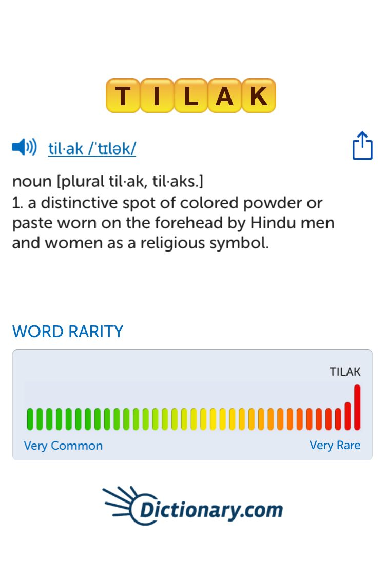 The Best Word Ive Seen Today On Words With Friends Is Tilak Can