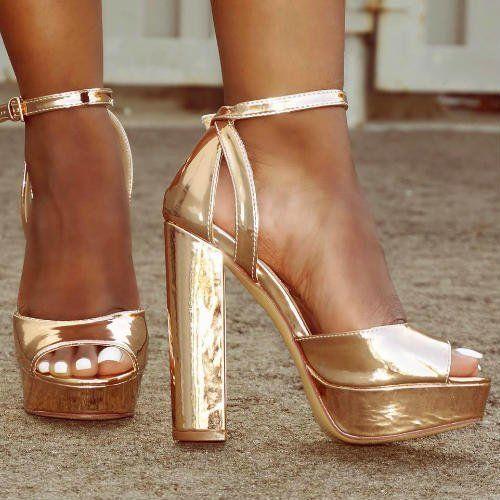 f1a224e6e69 Rose Gold Peep Toe Chunky Platform Heels.