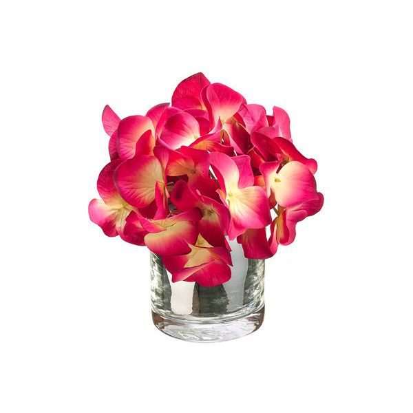 Hydrangea In Glass Vase Reviews (3985 RSD) ❤ liked on Polyvore featuring home, home decor and glass home decor