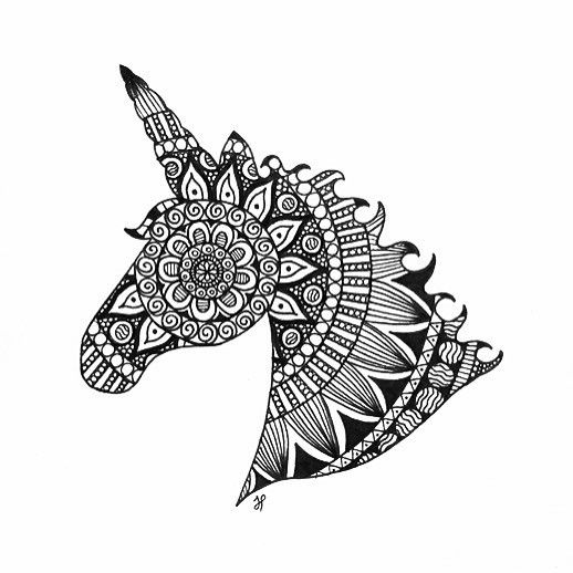 Black Ink Mandala Patterned Unicorn Head In Profile Tattoo
