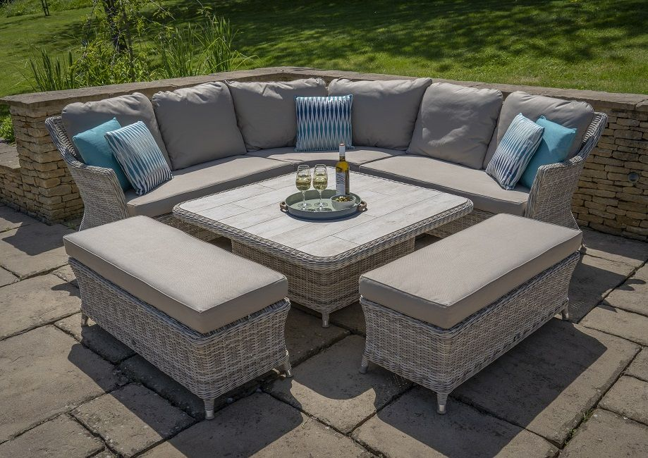 Bramblecrest Ascot Square Adjustable Casual Dining Set With Ceramic Top 2 Benches Woven Comfortable Bench Outdoor Furniture Sets Casual Dining Set