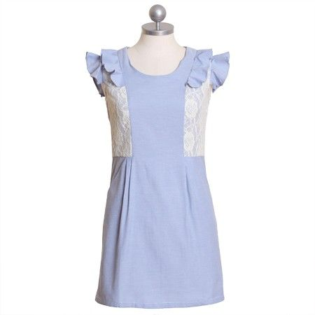 """Somewhere Over The Rainbow Blue Dress By Tofu 147.99 at shopruche.com. A gorgeous UK indie made dress! This heathered light blue dress is accented with lace panels and ruffled shoulders for a feminine touch. It also has a pleated front, two pockets and a hidden zipper on the back. Effortlessly adorable and sophisticated!  100% Cotton  Imported  31.5"""" long from shoulder  Size 4 measures:  Bust..."""
