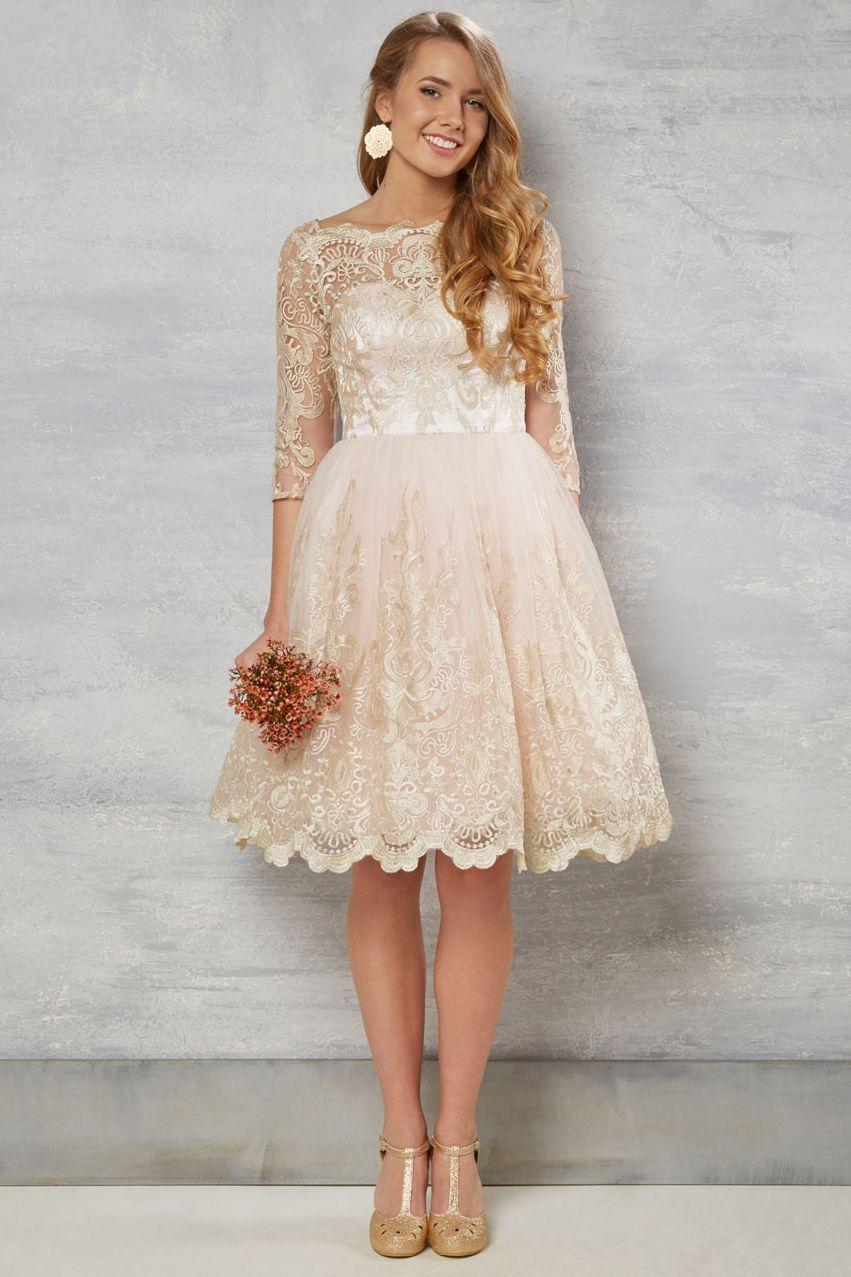 1ea72d54016b $169.29 –Long Sleeve Lace A-line Short Bridesmaid Dress. Shop for long  dresses, short dresses, vintage dresses, casual dresses, rustic dresses, ...