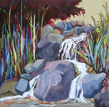contemporary landscape painting with water by Carolee Clark
