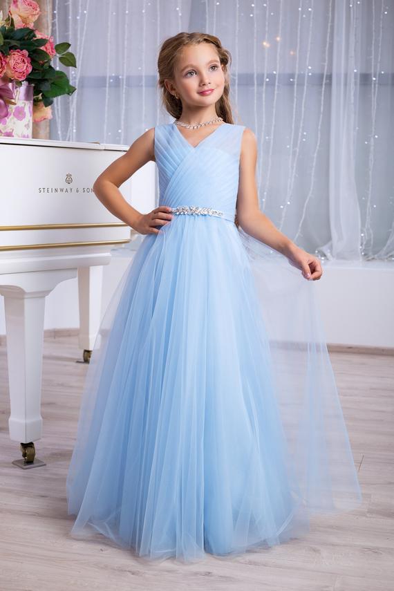 Light Blue Bridesmaid Dress Flower Girl Dress Light Blue Tulle Dress Belt With Rhines Flower Girl Dresses Blue Light Blue Cocktail Dress Flower Girl Dresses