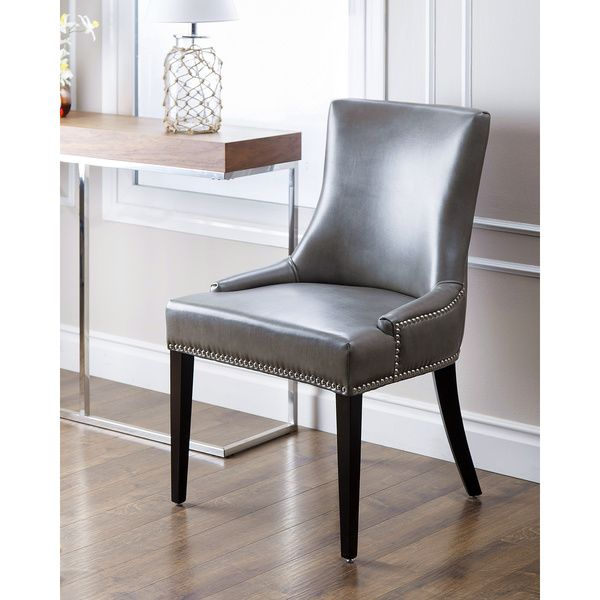 High Quality Abbyson Living Newport Grey Leather Nailhead Trim Dining Chair (Grey)  (Bonded Leather)