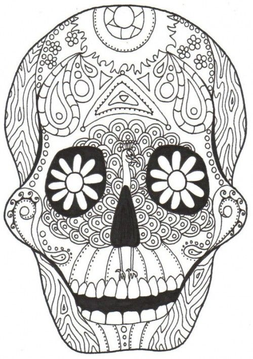 Dia De Los Muertos Skull Coloring Pages | Coloring Pages, Coloring Pages  For Kids Printable Free