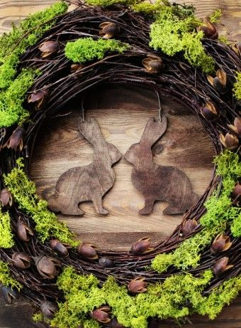 """Rustic 2015 easter wreath 16"""" - Home decor spring door wreaths decorations green moss wood country woodland rabbit bunny - LoveItSoMuch.com"""