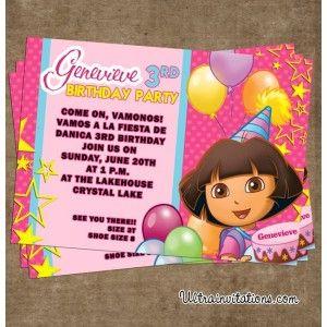 Dora explorer balloons birthday invites adorable for little girl dora explorer balloons birthday invites adorable for little girl http filmwisefo