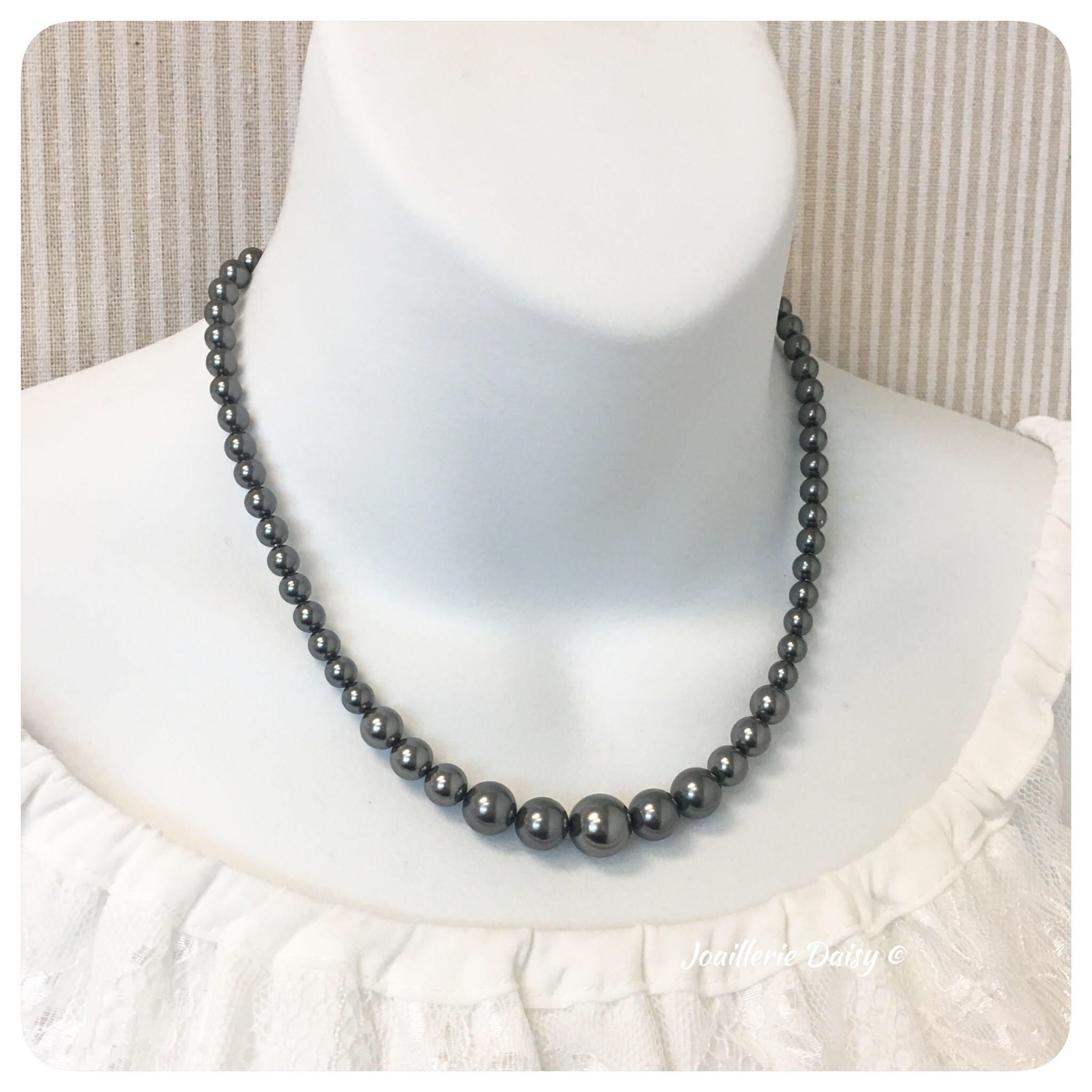 Bridesmaid gift bridesmaid necklace dark grey necklace bridal party