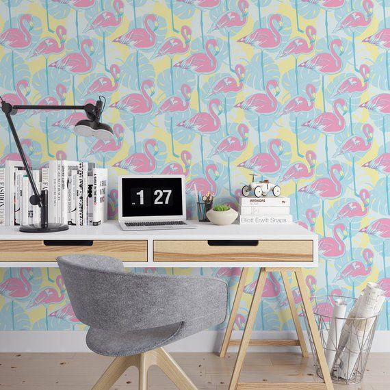 Pink flamingos removable wallpaper / cute self adhesive