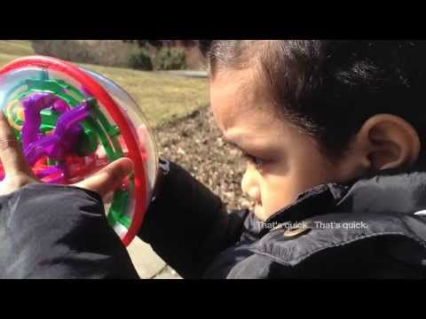 A Simple Story: The Child and the Round Labyrinth - This 3-year-old cutie pie kiddie, Romanieo, Jr. solves the Perplexus toy: A 3-dimensional spherical labyrinth with 70 levels that strengthens spacial acuity.
