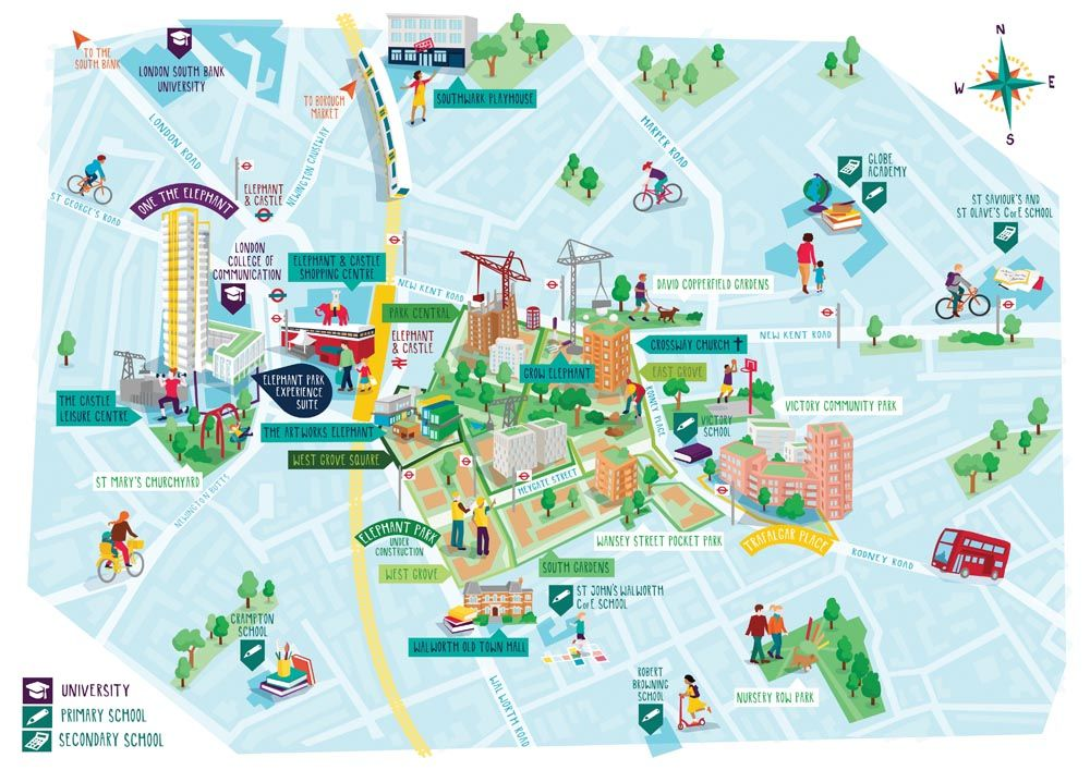 Map South East London.Map Illustration Of Elephant Park Housing Development In South East
