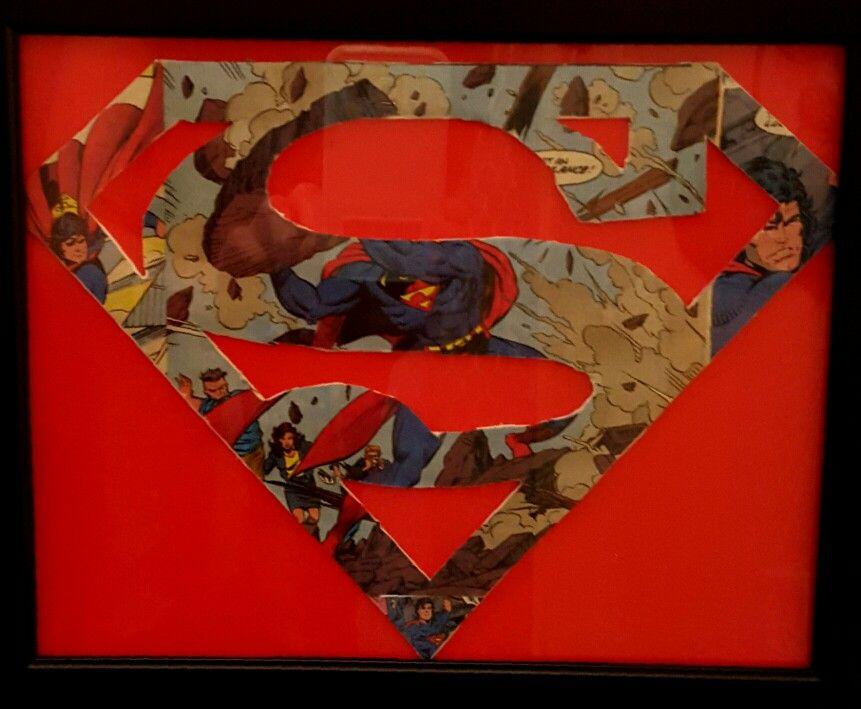 Superman comic book framed handmade logo by Brandy Nicole
