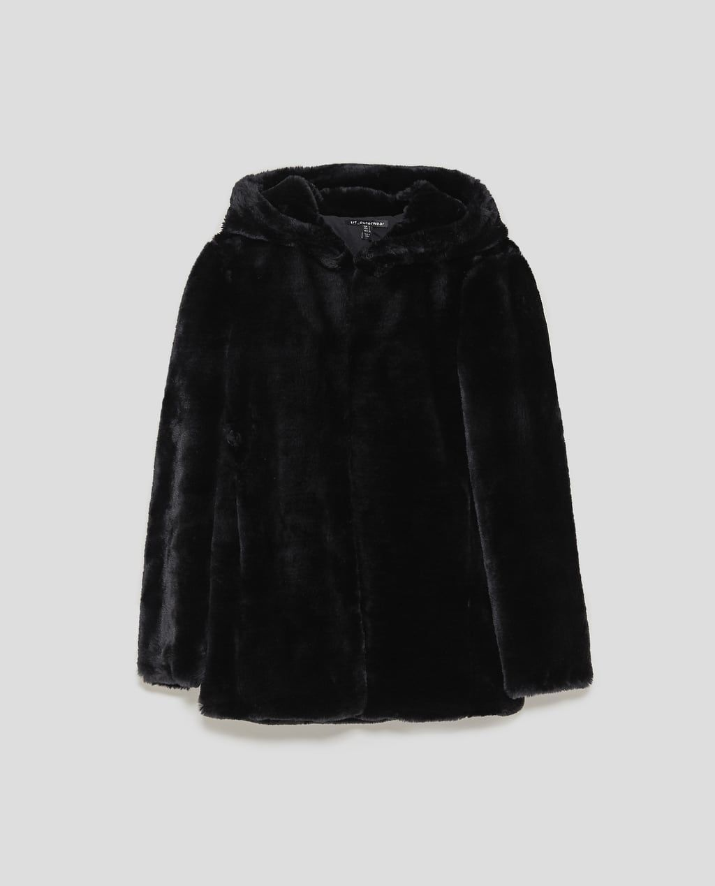 Image 6 of COAT WITH FAUX FUR HOOD from Zara