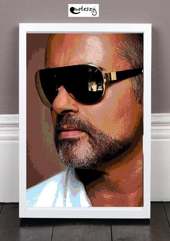 George Michael Print White Frame George Michael Auteur Compositeur Interprete Auteur Compositeur