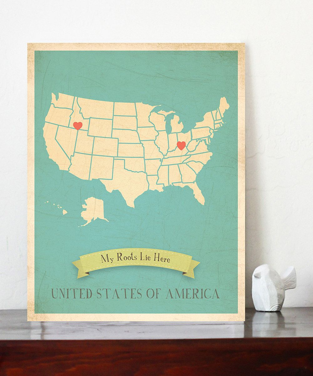 paint a US map white glue on pretty paper and put heart stickers