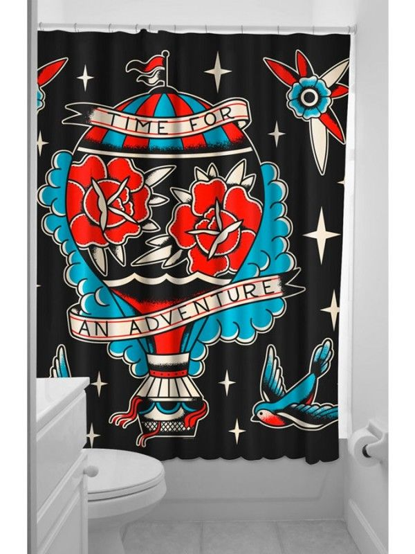 Sourpuss Clothing Adventure Shower Curtain Fabric Shower