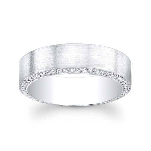 Mes Kt White Gold Pave Diamond Wedding Band The Width Is Mm Wide And There Are Carats Of Set G Color VS Clarity Round Brilliant Diamonds