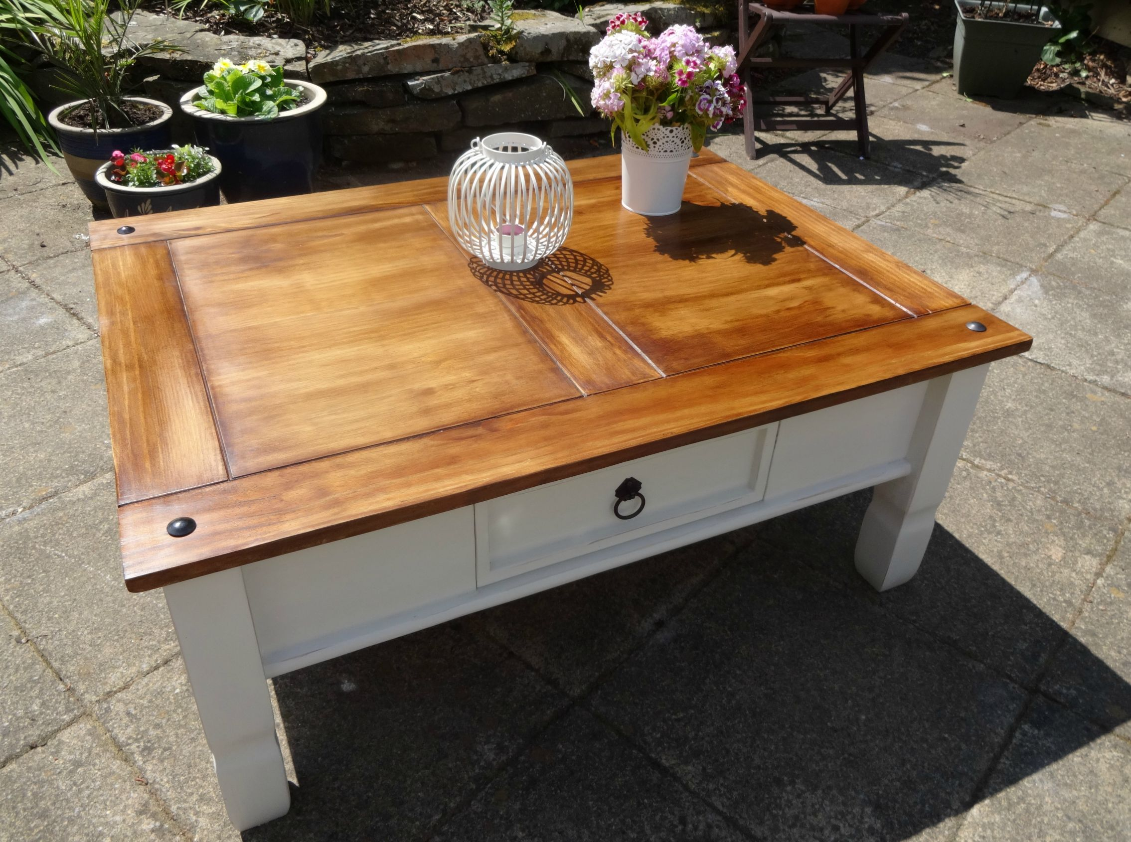 Upcycled Mexican Pine Coffee Table Annie Sloan Old White and Dark