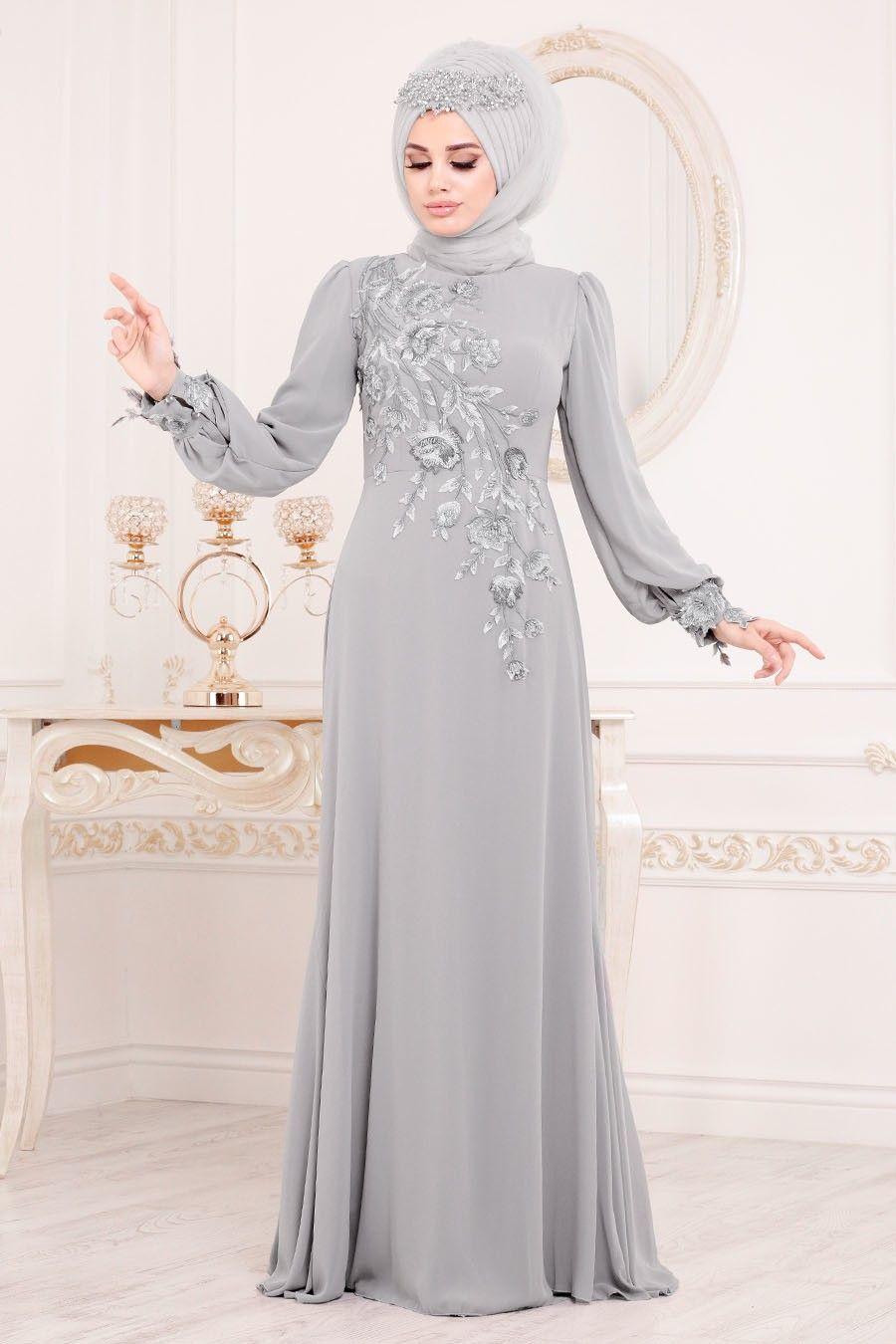 Tesetturlu Abiye Elbise Cicek Desenli Gri Tesettur Abiye Elbise 37850gr Tesetturisland Com Aksamustu Giysileri Elbise Moda Stilleri