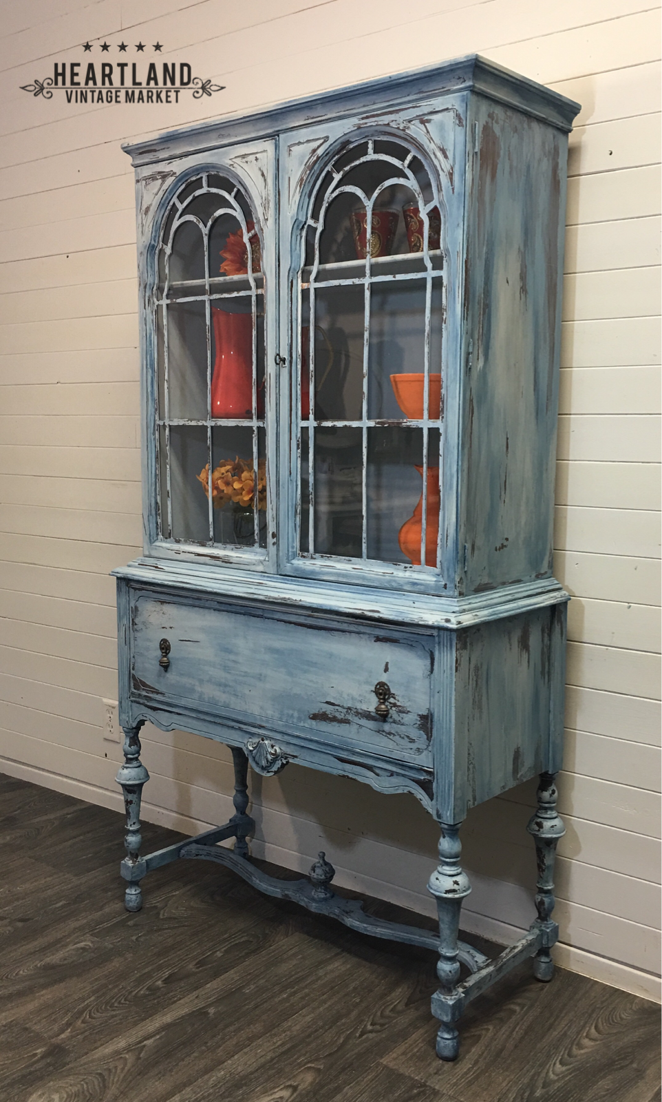 Layers Of Blue And White Chalk Paint Update This Lovely Antique China Cabinet Www Heartlandvintagemar Antique China Cabinets White Chalk Paint Lovely Antiques