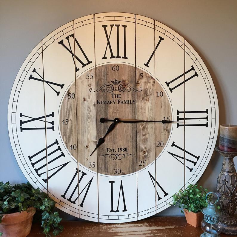 38 Inch Wooden Farmhouse Clock Roman Numeral Rustic Wall Etsy In 2020 Rustic Wall Clocks Diy Clock Wall Farmhouse Wall Clocks