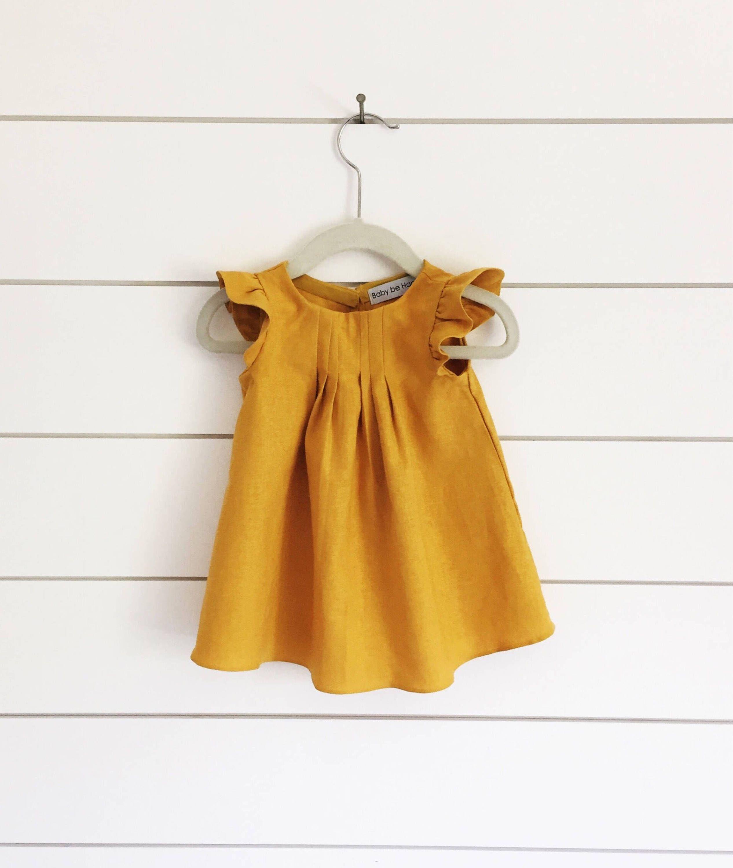 a00d892ac6 Mustard yellow linen dress yellow baby dress mustard yellow