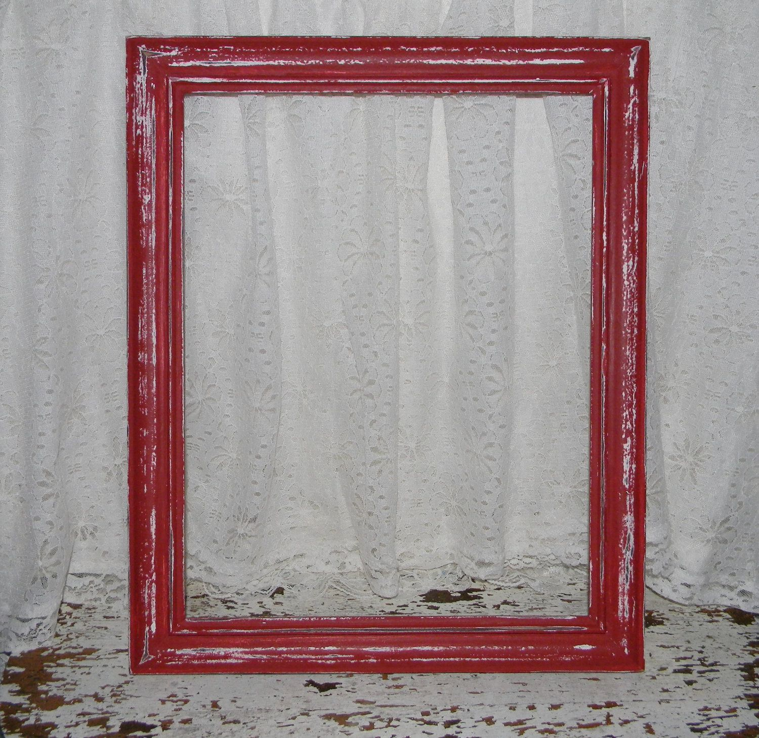 Home interior frames farmhouse red picture frame reclaimed vintage distressed home decor