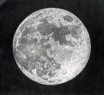 b4a3062c529360c7ef5b9347be82112f » Pencil Realistic Moon Drawing