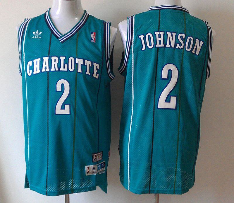 2897b7f9d ... charlotte hornets 2 larry johnson embroidered green nba jersey  wholesale cheap 17.99