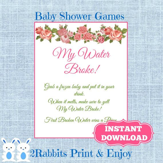 Floral My Water Broke! Game Sign Frozen Baby Game  Flower Baby Shower Ice  Cube Baby Shower Drink   Shower Drink Game  Instant Download