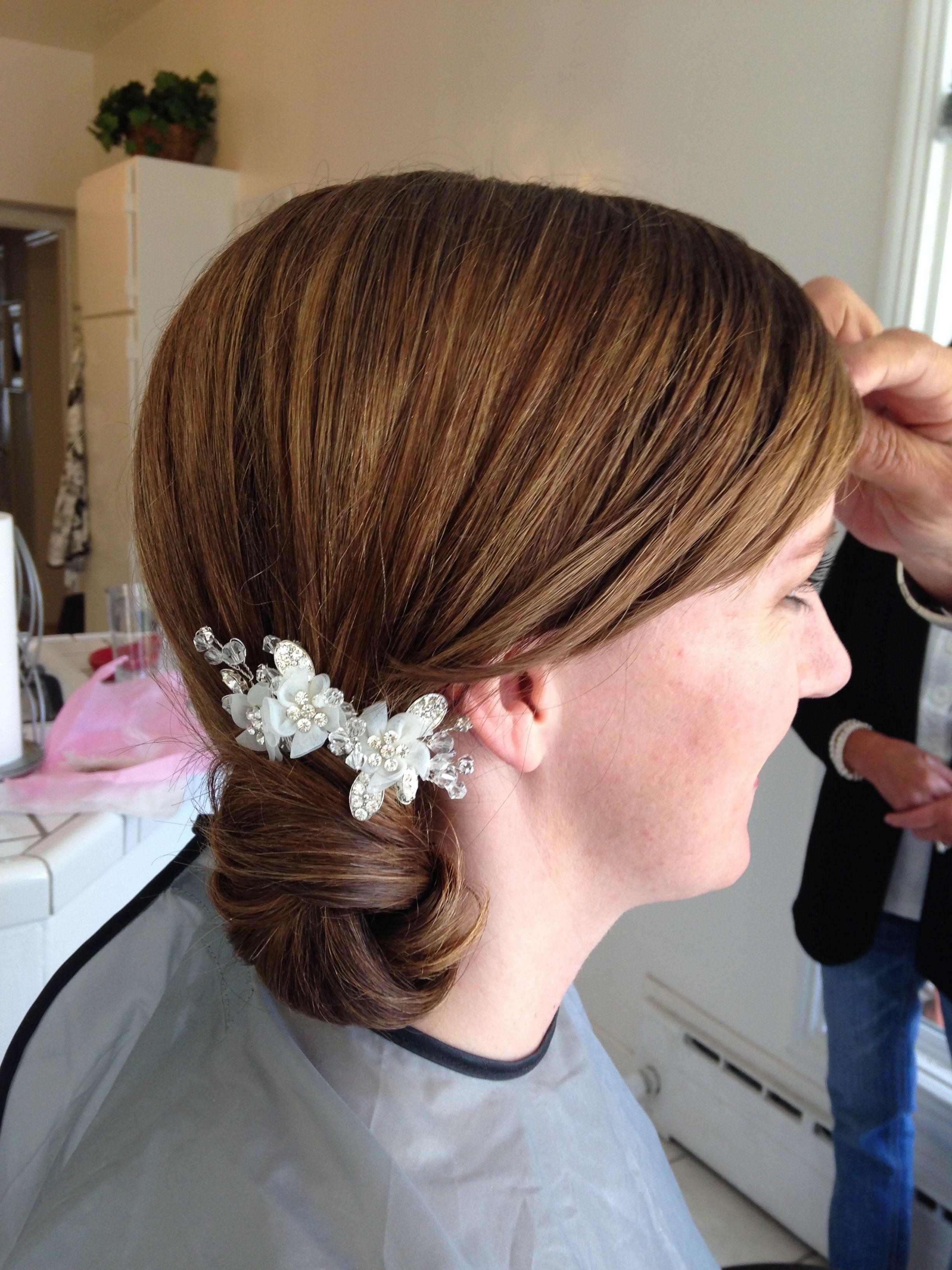 side rose petal bun by liz fanlo makeup and hair | bridal